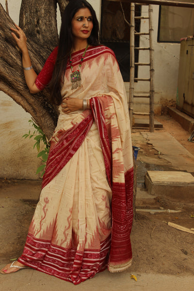 | Vivaah ( Wedding ) | Off White and red broad border Handwoven sambalpuri ikat saree in cotton. TCB-OR2-NH2-The Chalk Boutique