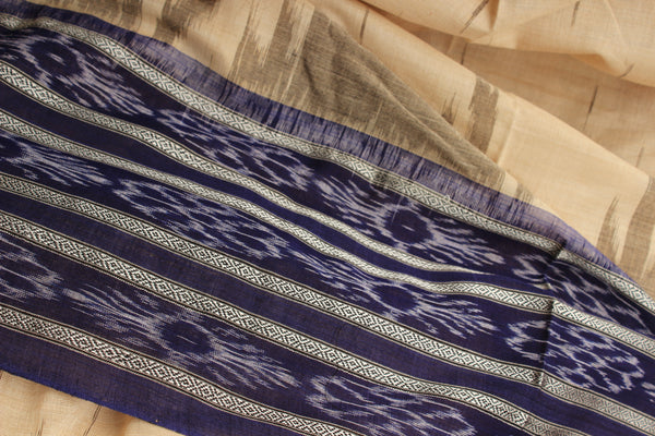 | Azul Evenings | Off White and blue broad border Handwoven sambalpuri ikat saree in cotton. TCB-OR2-5-The Chalk Boutique