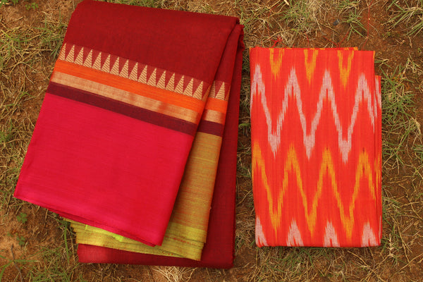 Deep Maroon- Pink Cotton Saree with contrast  Woven Border.