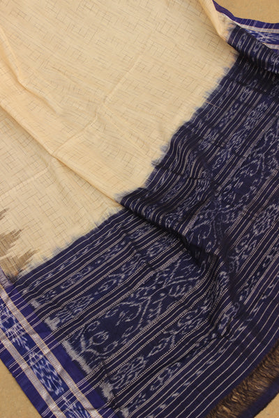 | Mandana ( Patterns) | Coffee colour and blue border Handwoven sambalpuri ikat saree in cotton. TCB-JH1-NH2-The Chalk Boutique