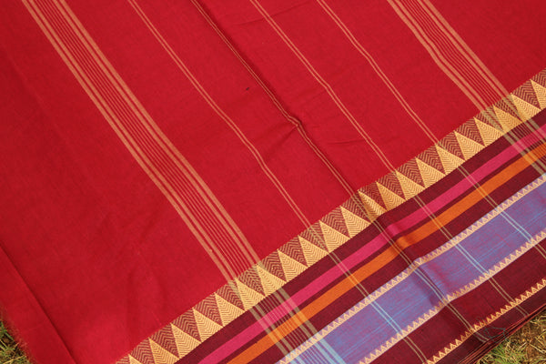Deep Pink Cotton Saree with contrast  Woven Border.
