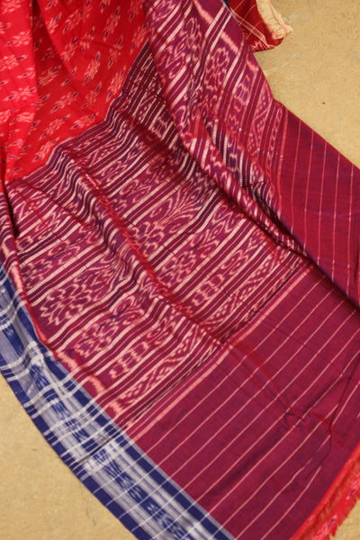 | Cherry Blossoms | Red Handwoven sambalpuri ikat saree in cotton. TCB-OR4-19-The Chalk Boutique