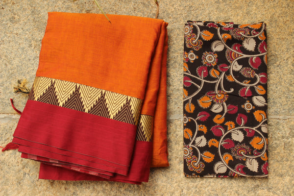 Orange Narayanpet cotton saree with contrast border.