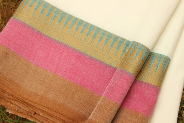 Off White Cotton Saree with contrast  Woven Border.