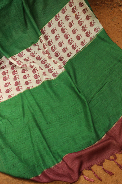 | Night Owls | Green Handwoven natural mulberry silk saree. TCB-MS1-BS