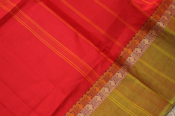 Red Cotton Saree with contrast Woven Border.