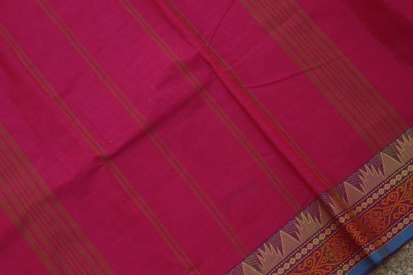 Pink Cotton Saree with contrast Woven Border.