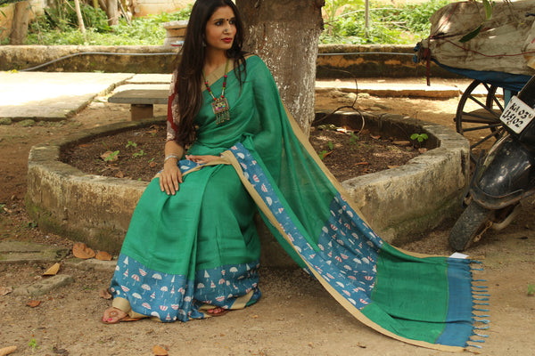 | Under My Umbrella | Green Handwoven natural mulberry silk saree. TCB-MS3-BS