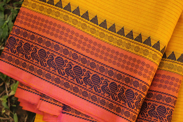 Yellow Self Striped Cotton Saree with contrast Woven Border.