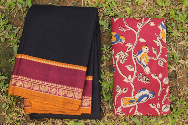 Black Cotton Saree with contrast Woven Border.