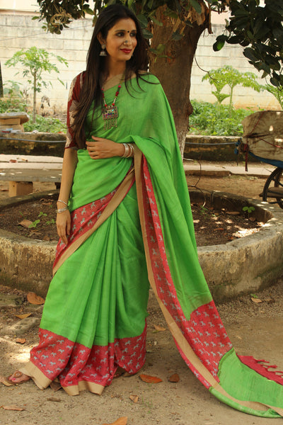 | Zebra in the wild | Green Handwoven natural mulberry silk saree. TCB-MS5-BS
