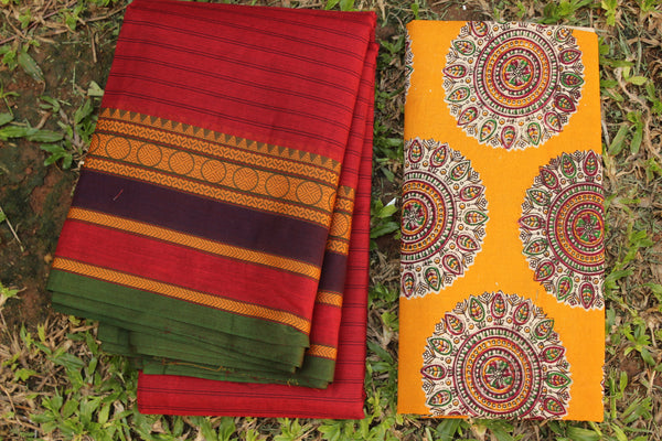Maroon Self Striped Cotton Saree with contrast Woven Border.