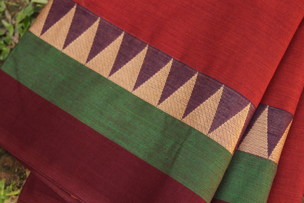 Maroon Cotton Saree with contrast Woven Border.