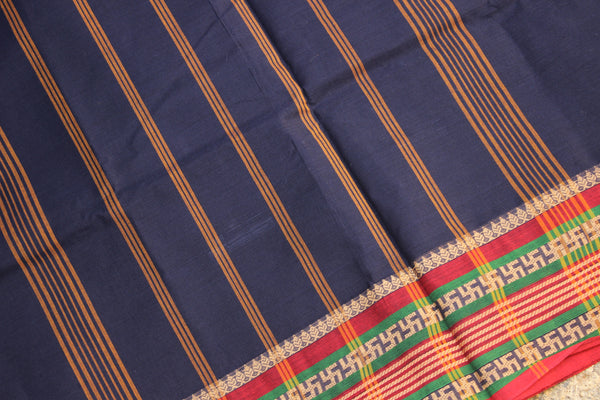 Navy Blue Cotton Saree with contrast Woven Border.