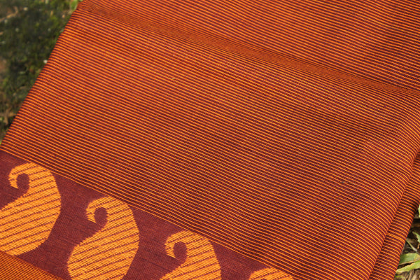 Rust Brown Self Striped Cotton Saree with contrast Woven Border.