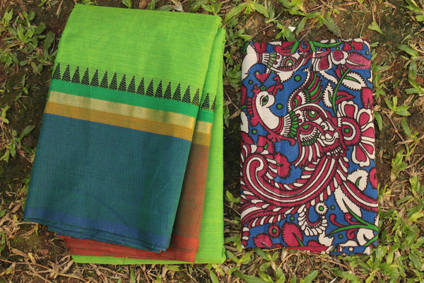 Green Cotton Saree with contrast Ganga Jamuna Woven Border.