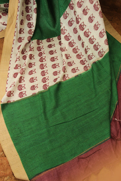 | The Wise Owls | Green Handwoven natural mulberry silk saree. TCB-MS7-BS
