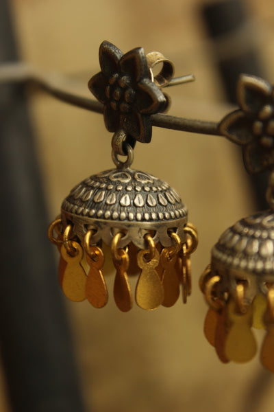 92.5 silver carved small jhumkas. VA-AG19