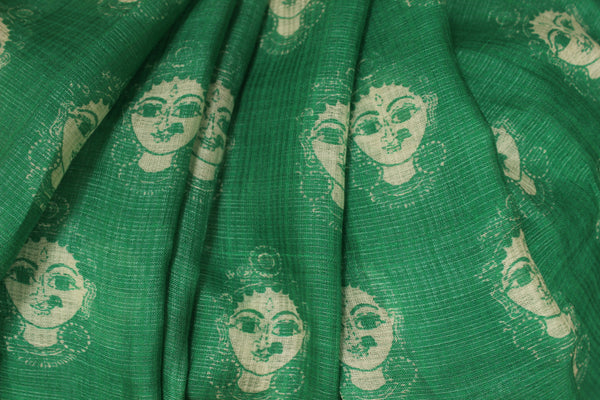 | Divine Faces | Green Handwoven natural mulberry silk saree. TCB-MS8-BS