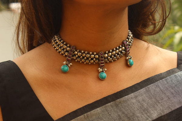 92.5 Silver Adjustable choker black Dori Necklace