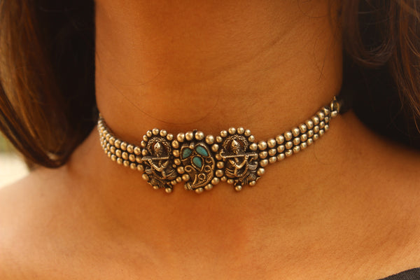 Krishna -Paisley 92.5 Silver Adjustable choker black Dori Necklace