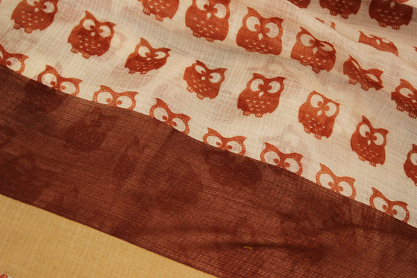 | Owl Family |  White Handwoven natural mulberry silk saree. TCB-MS11-BS