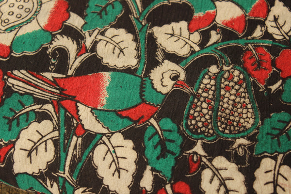 Black birdie Hand Block Printed Cotton Kalamkari  Fabric. TCB-KAL4-P3