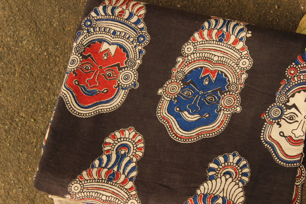'Theyyam' Hand Block Printed Cotton Kalamkari  Fabric. TCB-KAL14-P3