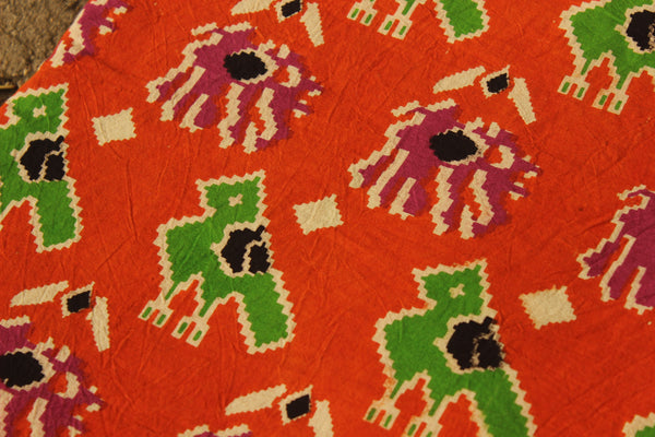 Orange Hand Block Printed Cotton Kalamkari  Fabric. TCB-KAL6-P3