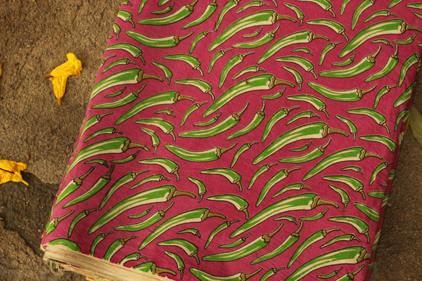 Pink chillies Hand Block Printed Cotton Kalamkari  Fabric. TCB-KAL7-P3
