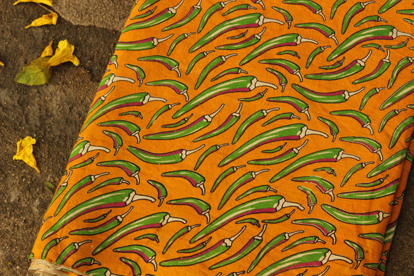Mustard chillies Hand Block Printed Cotton Kalamkari  Fabric. TCB-KAL9-P3