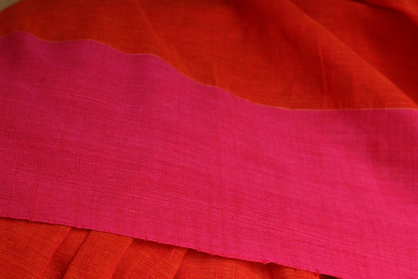 | Open Flame | Handloom Bright Orange Cotton saree with pink paar.TCB-AC7-BN