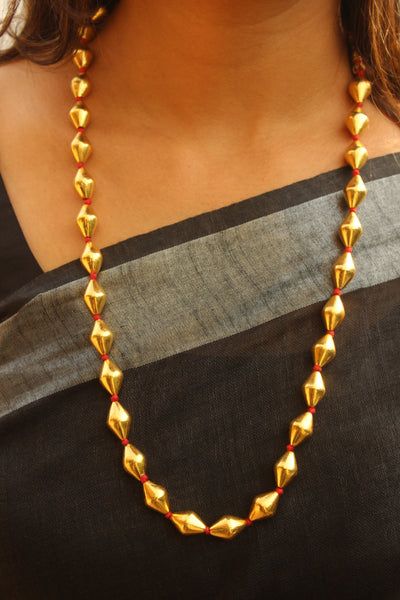 92.5 Silver Beaded Chain with Gold Polish