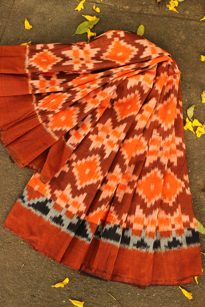 Pochampally Double Ikat Cotton saree. TCB-IK2-P3