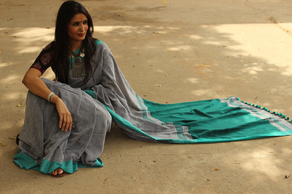 | Rain Clouds | Handloom Self design woven Cotton saree with contrast blue paar. TCB-COT4-CY