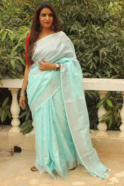 Sky Blue Checked linen saree with zari border and tasseled palla