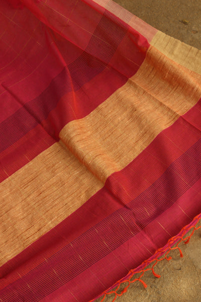 | Utsav ( Festival) | Pink Handloom Zari Checks Cotton saree with contrast paar. TCB-AH1-BN