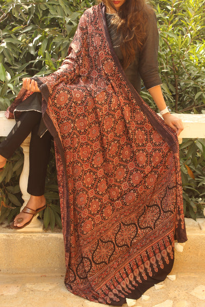 Black and Madder Modal silk vegetable dyed Ajrakh dupatta.