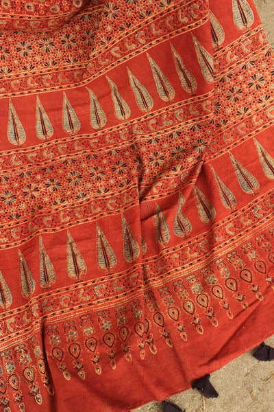 | Asya |- Madder Handwoven vegetable dyed Ajrakh mul cotton saree .