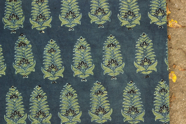 Indigo and Green Ajrakh vegetable dyed hand block printed fabric.