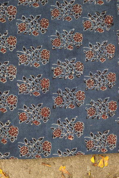 Floral Indigo Ajrakh vegetable dyed hand block printed fabric.