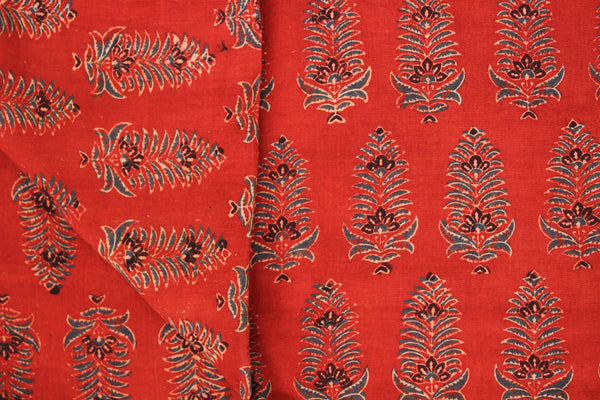 Madder Ajrakh vegetable dyed hand block printed fabric.