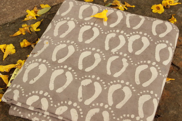 'Feet' Dabu Hand Block Printed Fabric In Cotton . SHB-FAB-3