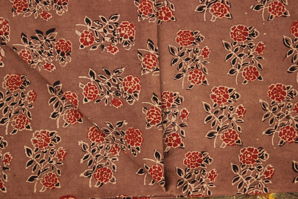 Ajrakh vegetable dyed hand block printed fabric.