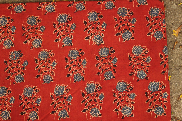 Floral Madder Ajrakh vegetable dyed hand block printed fabric.