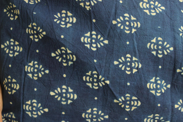 | Noor |- Indigo Handwoven vegetable dyed Ajrakh mul cotton saree .
