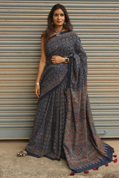 | Mehr |- Indigo Handwoven vegetable dyed Ajrakh mul cotton saree .