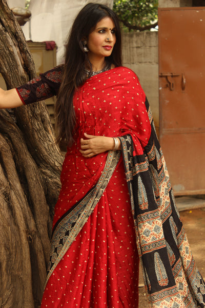 | Crazy Crimson | Red vegetable dyed Ajrakh saree with bandhani in modal Silk.KCH-BAJR1-C3-The Chalk Boutique