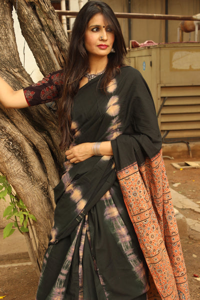 Black Handwoven vegetable dyed Ajrakh with tie and dye mul cotton saree . KCH-AJR2-C12