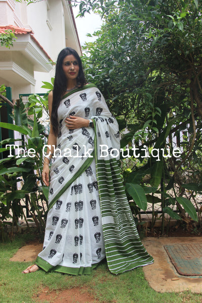 | Frida on Me | White Printed mul mul cotton saree.